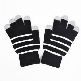 Touchscreen Gloves Red dark Stripe