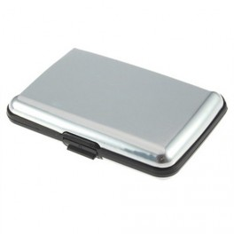 Credit card case aluminum smooth, silver