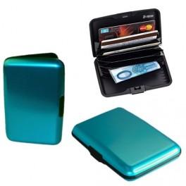 Cassa di carta di credito viola alluminio liscio